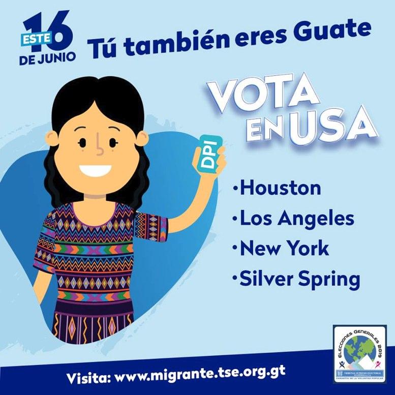 Foto La Hora Facebook TSE /Los guatemaltecos en el extranjero votarán desde cuatro ciudades por candidatos a Presidente y Vicepresidente.